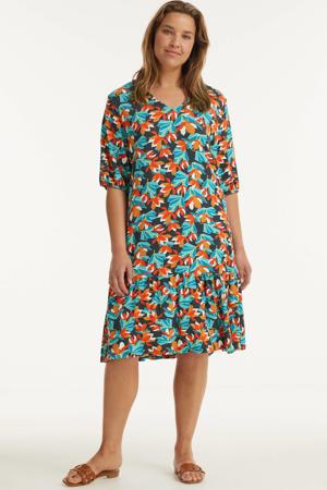 jurk met all over print en volant antraciet/blauw/oranje