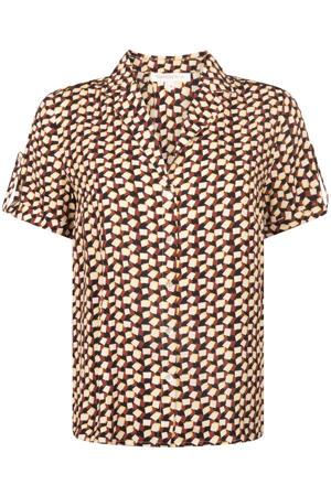 blouse met all over print beige/rood/zwart