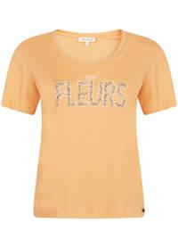 Tramontana top met tekst oranje/groen/wit, Oranje/groen/wit