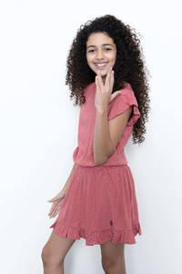 LEVV Girls jurk Manuela met stippen en ruches roze/wit, Roze/wit