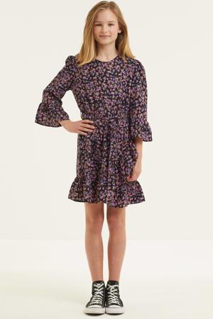 jurk Linn met all over print en ruches zwart/roze/paars