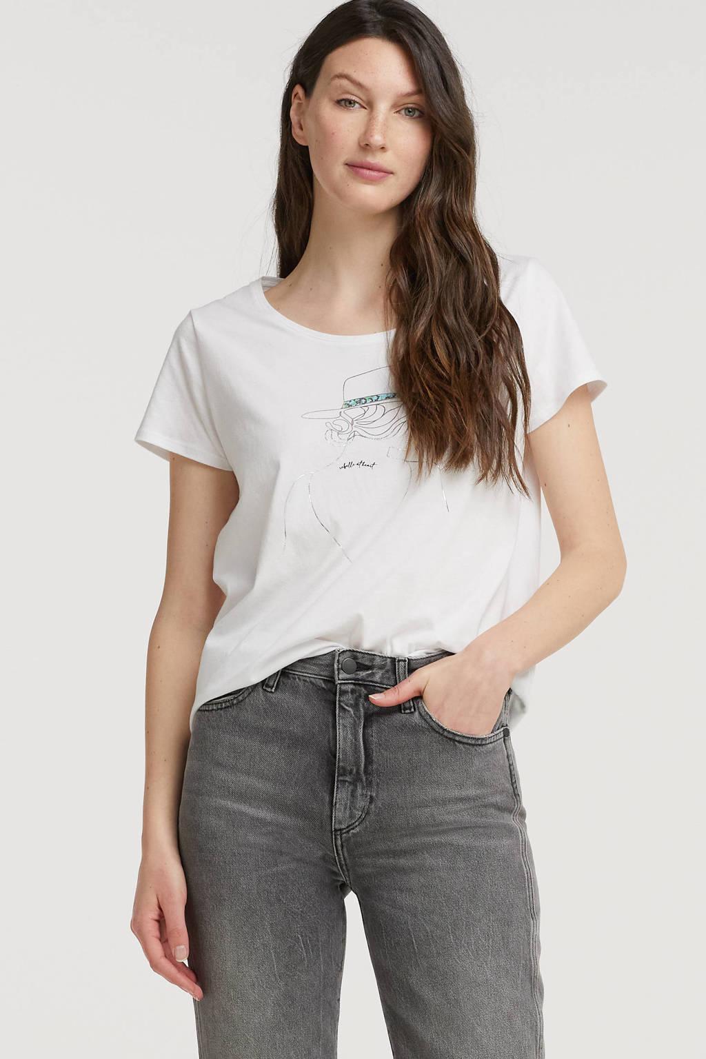 Esqualo T-shirt met printopdruk wit, Wit