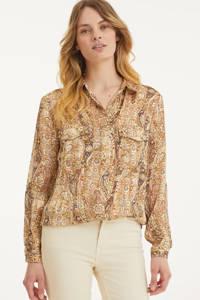 Esqualo blouse met paisleyprint beige, Beige