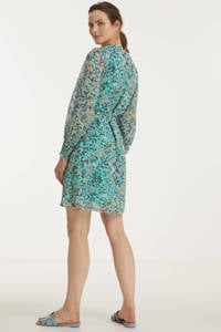 Esqualo jurk met all over print en ruches turquoise, Turquoise