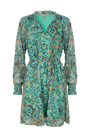 jurk met all over print en ruches turquoise