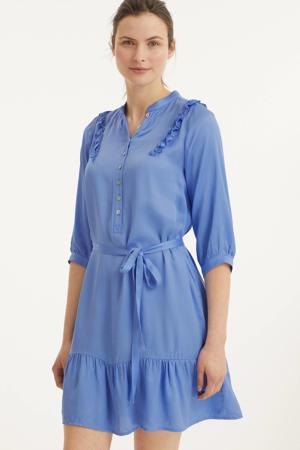 A-lijn jurk met ruches blauw