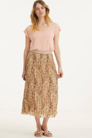 midi rok met all over print beige