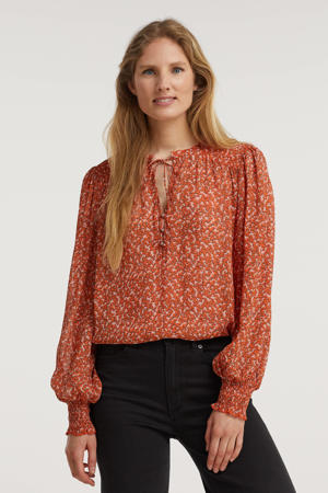 top met all over print oranje