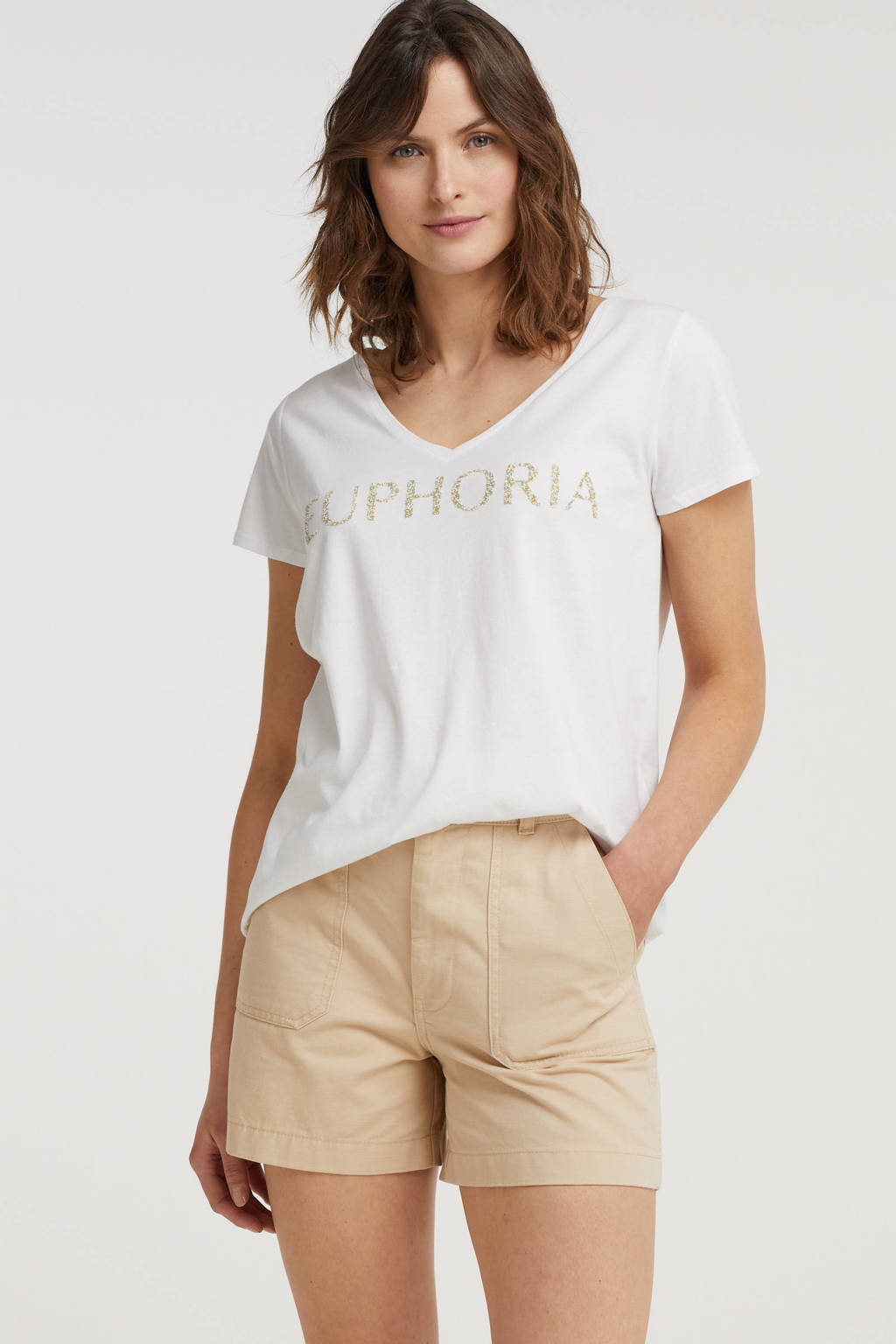 Esqualo T-shirt met tekst wit, Wit
