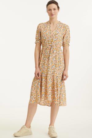 gebloemde jurk lichtgroen/roze/oranje