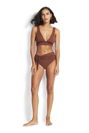 bikinibroekje met strikceintuur bruin
