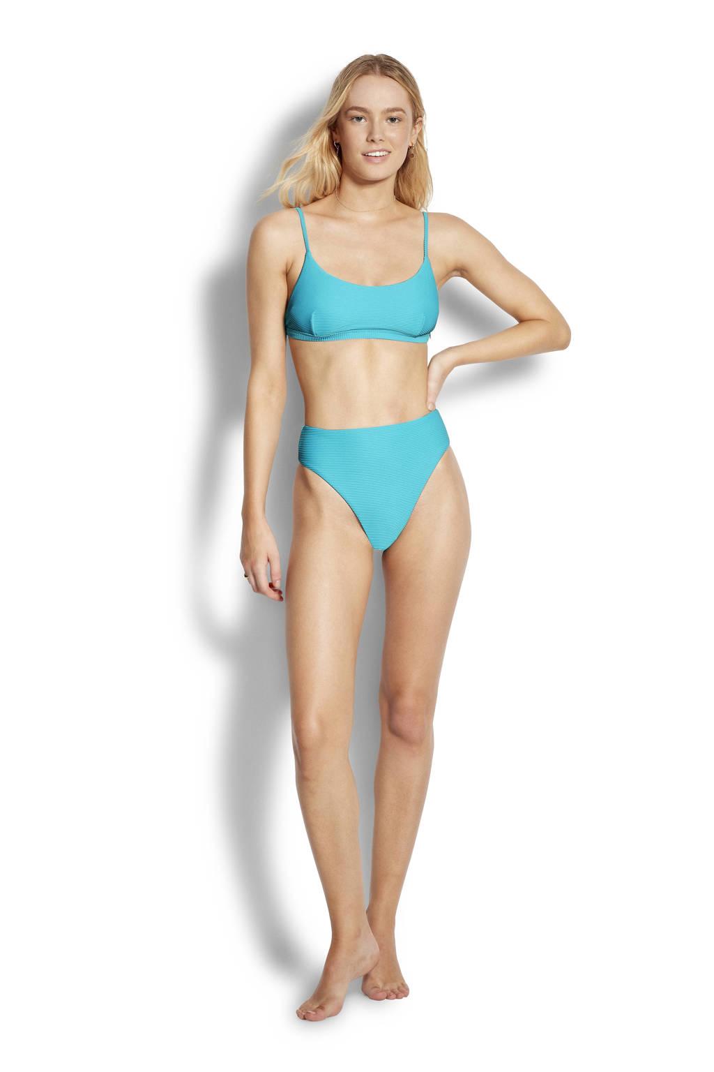 Seafolly high leg bikinibroekje met rib textuur turquoise, Turquoise