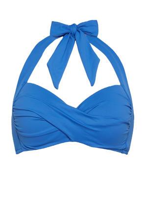 halter bikinitop met plooien blauw