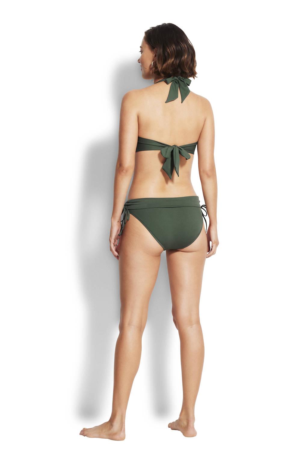 Seafolly halter bikinitop met plooien donkergroen, Donkergroen