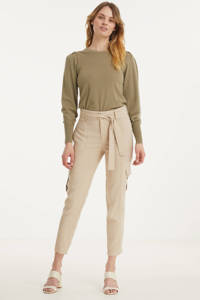 Esqualo high waist tapered fit broek beige, Beige