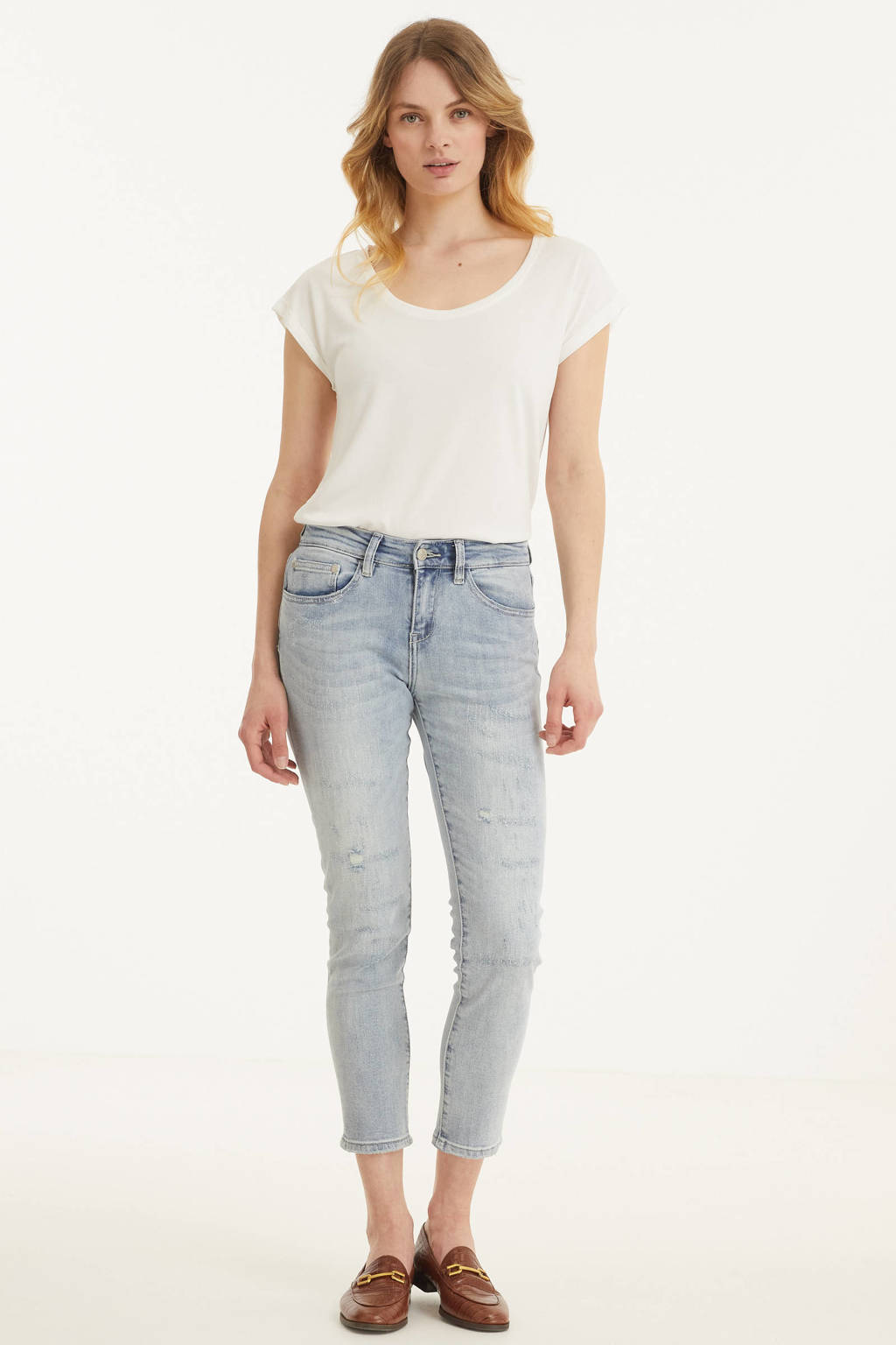 Esqualo straight fit jeans light blue denim, Light blue denim