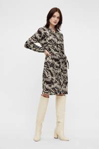OBJECT jurk OBJTALUSA met all over print en ceintuur zwart/ecru, Zwart/ecru