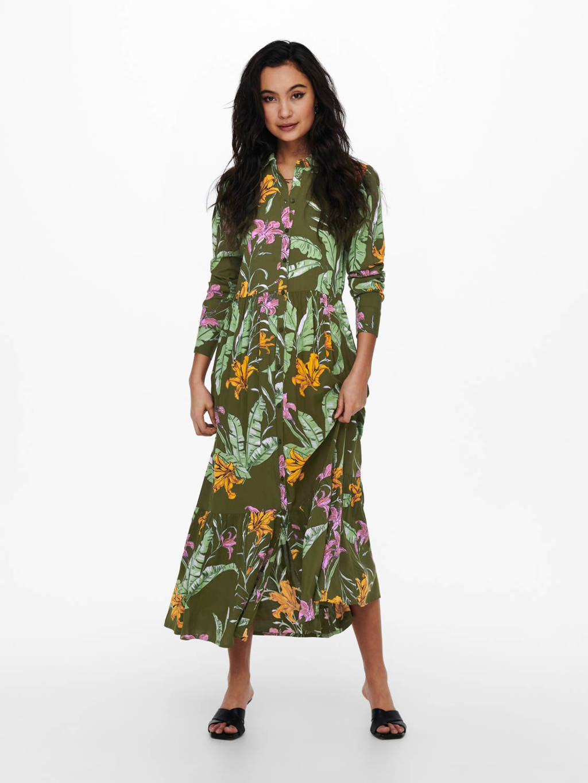 ONLY maxi blousejurk ONLPALM met all over print en plooien groen, Groen