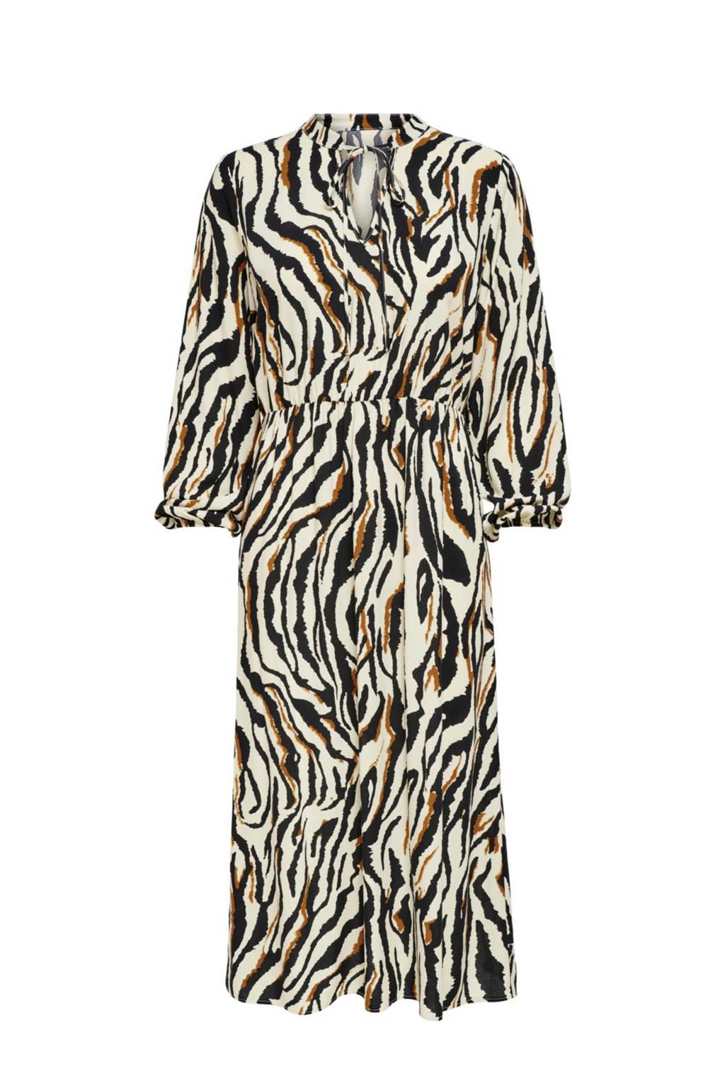 ONLY midi jurk ONLGAGA met zebraprint zwart/wit, Zwart/wit