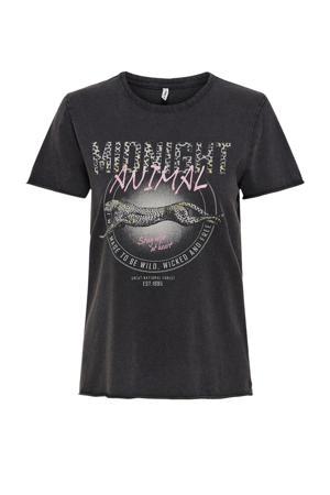 T-shirt ONLLUCY met printopdruk zwart