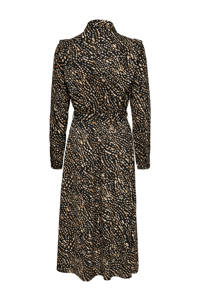 ONLY blousejurk ONLRIVANA met all over print en volant zwart/bruin/lichtbruin, Zwart/bruin/lichtbruin