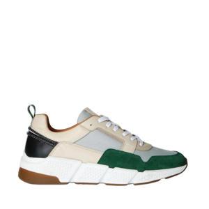 leren sneakers ecru/groen