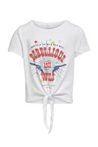 KIDS ONLY T-shirt Madeline van biologisch katoen wit/rood/blauw, Wit/rood/blauw