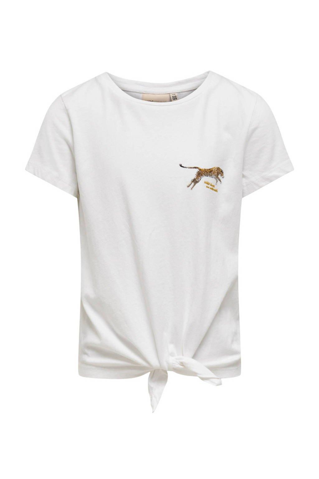 KIDS ONLY T-shirt Lucy van biologisch katoen wit/bruin, Wit/bruin