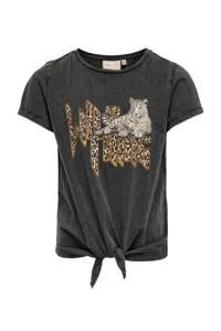 KIDS ONLY T-shirt Lucy van biologisch katoen zwart/bruin, Zwart/bruin