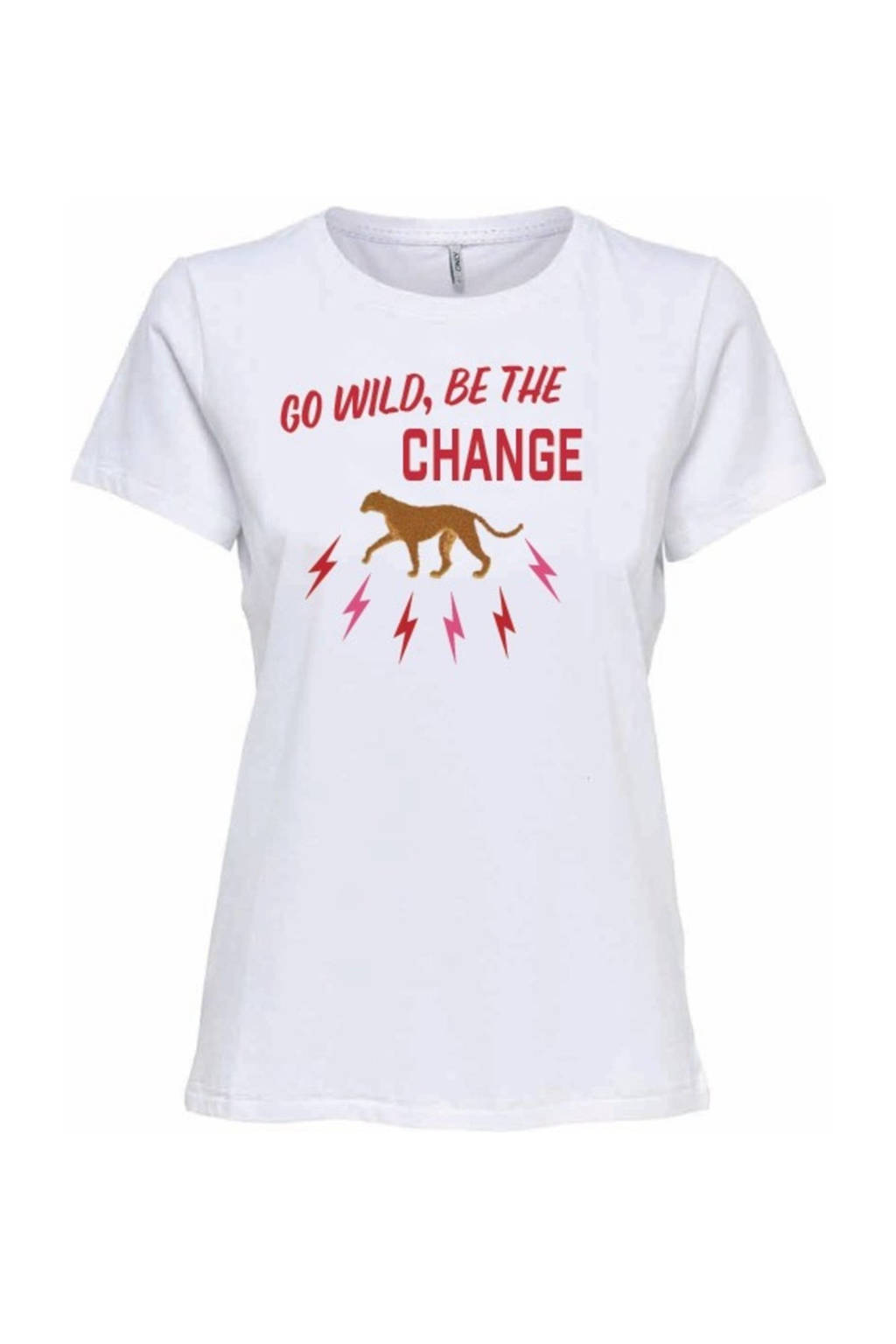 KIDS ONLY T-shirt Bettie van biologisch katoen wit/rood, Wit/rood