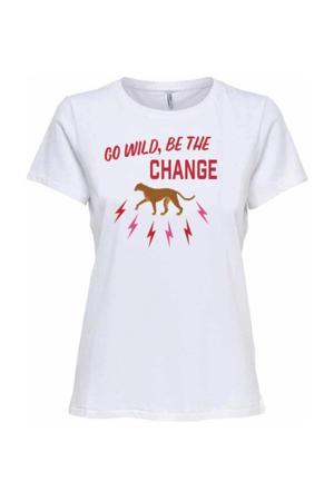 T-shirt Bettie van biologisch katoen wit/rood