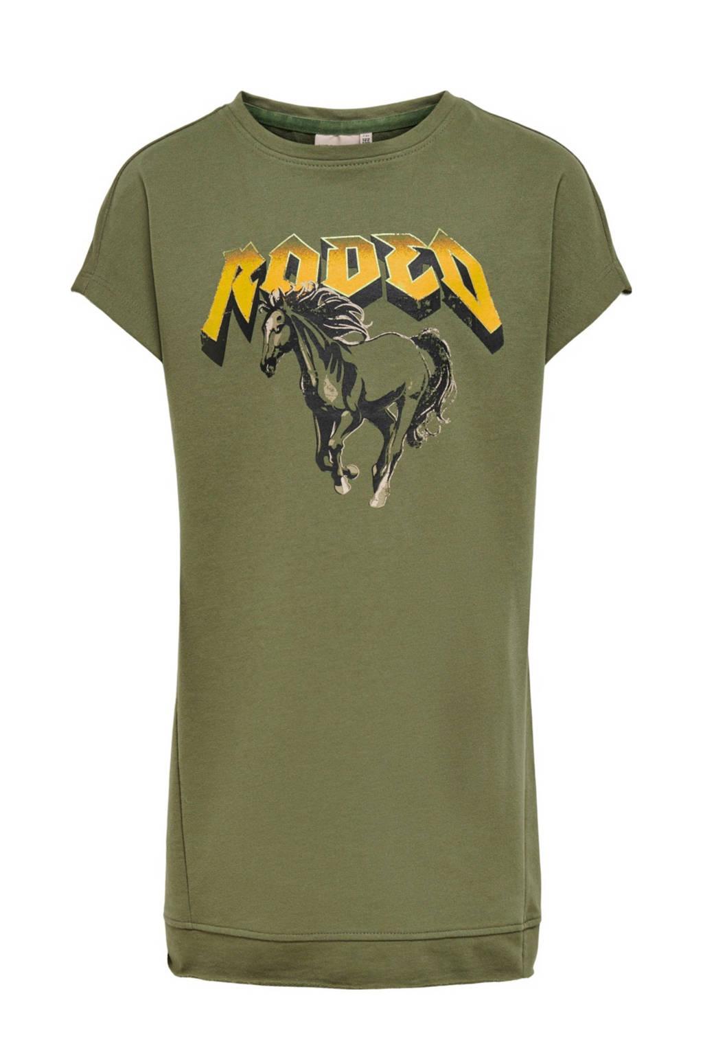KIDS ONLY T-shirtjurk Brandy met biologisch katoen donkergroen/geel, Donkergroen/geel