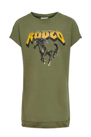 T-shirtjurk Brandy met biologisch katoen donkergroen/geel