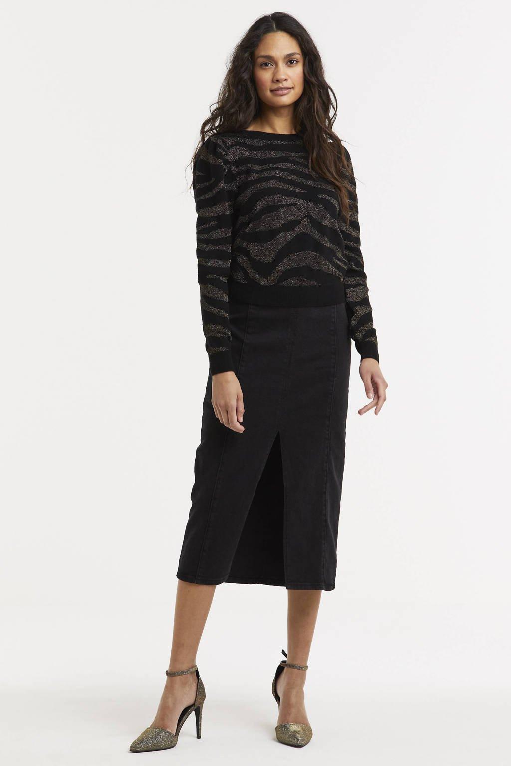 ONLY trui ONLCERIE met zebraprint zwart, Zwart