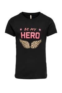 KIDS ONLY T-shirt Bettie van biologisch katoen zwart/roze/bruin, Zwart/roze/bruin