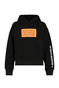 CoolCat Junior hoodie Semina met tekst zwart/neon oranje, Zwart/neon oranje