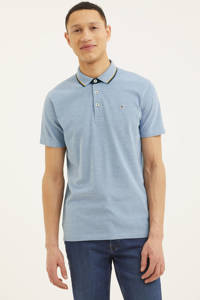 PRODUKT regular fit polo Mike met contrastbies blauw, Blauw