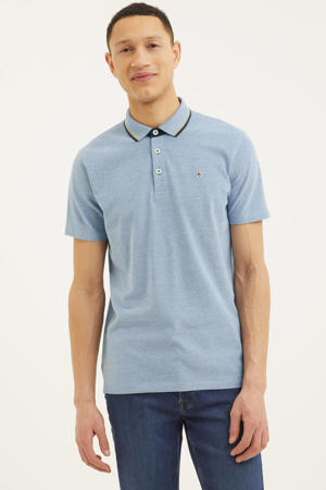 regular fit polo Mike met contrastbies blauw