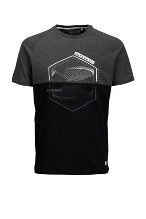 T-shirt Casper van biologisch katoen zwart/grijs