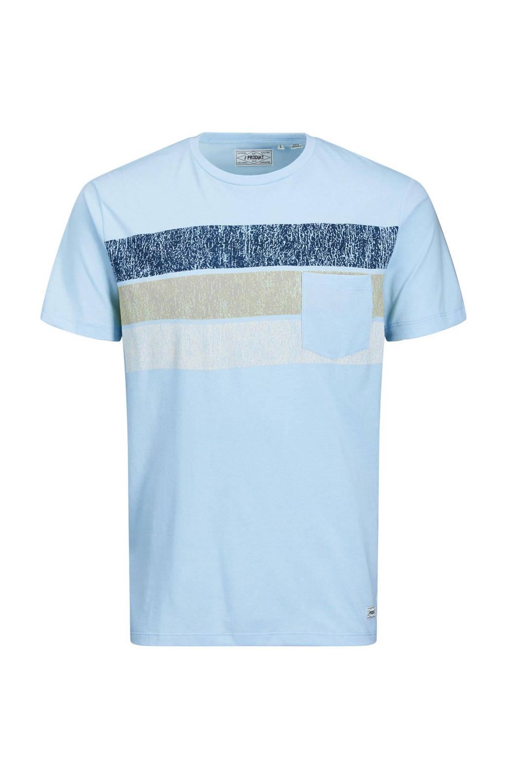 PRODUKT T-shirt Unsiders met printopdruk lichtblauw, Lichtblauw