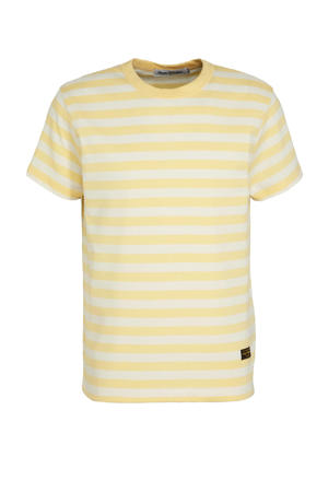 gestreept T-shirt Darius van gerecycled polyester lichtgeel