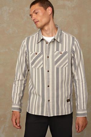 gestreept oversized overhemd Juntoku van biologisch katoen ecru/donkerblauw