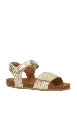 Grass  leren sandalen goud