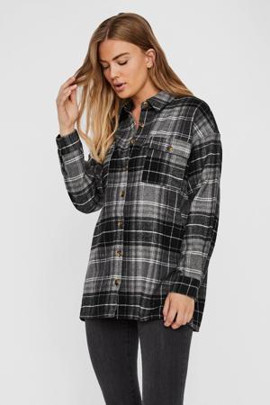 geruite blouse Flanny zwart/grijs/wit