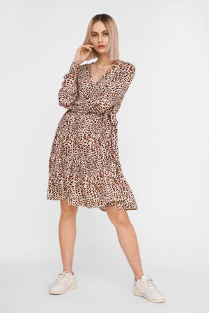 blousejurk met all over print beige/bordeaux