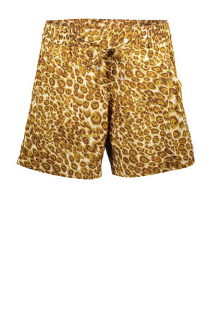 straight fit short met all over print geel