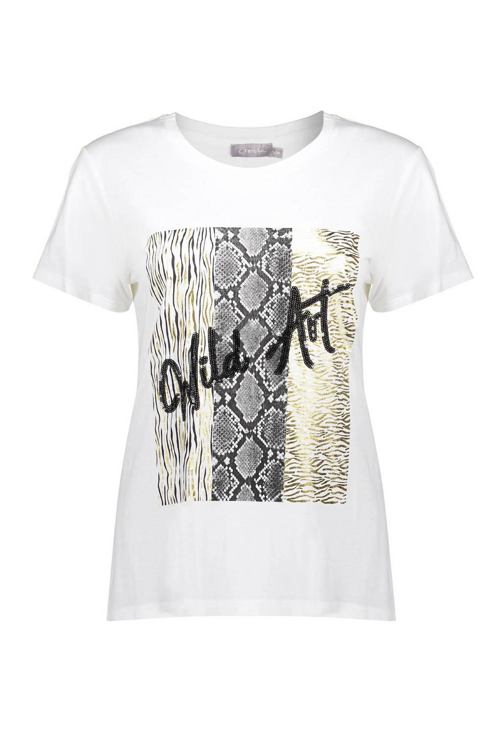 Geisha T-shirt met printopdruk wit, Wit