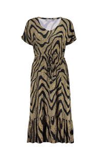 Geisha maxi jurk met all over print geel/zwart, Geel/zwart