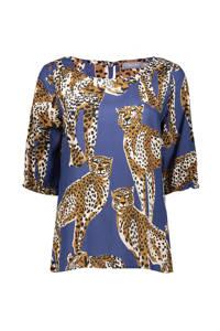 Geisha top met all over print blauw, Blauw