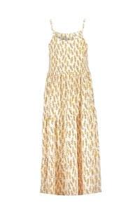 Geisha maxi jurk met all over print geel, Geel